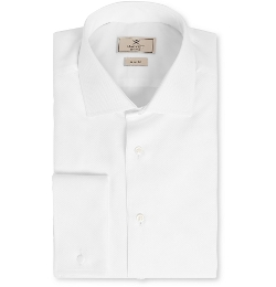 Mayfair White Cotton Tuxedo Shirt by Hackett in Spy