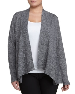 Ribbed-Collar Draped Cardigan by Eileen Fisher in Spy
