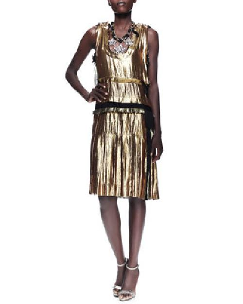 Metallic Drop-Waist Dress, Gold by Lanvin in The Great Gatsby