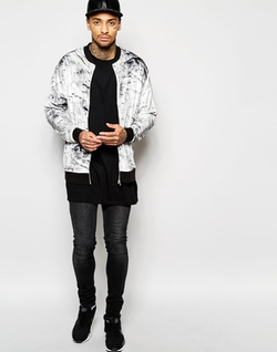 All Over Print Velour Bomber Jacket by Asos in Love Actually