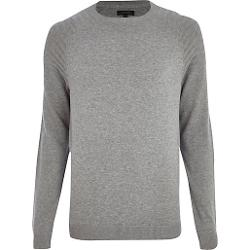 Grey Elbow Patch Crew Neck Sweater by River Island in Prisoners