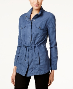 Trucker Zip-Front Linen-Blend Utility Jacket by Calvin Klein Jeans  in Blair Witch