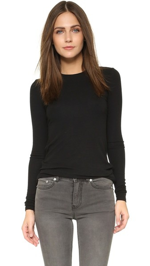 Long Sleeve Micromodal Crew Neck Tee by ATM Anthony Thomas Melillo in Keeping Up With The Kardashians