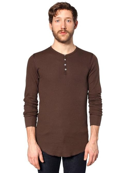Thermal Long Sleeve Henley Shirt by American Apparel in The Hundred-Foot Journey