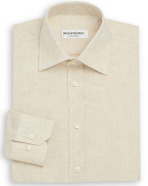 Regular-Fit Linen Dress Shirt by Yves Saint Laurent in Legend