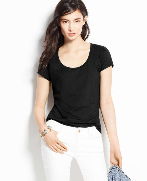 Scoop Neck Tee by Ann Taylor in Ouija