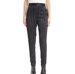 Tailored Striped Satin Pants by DKNY in Atomic Blonde