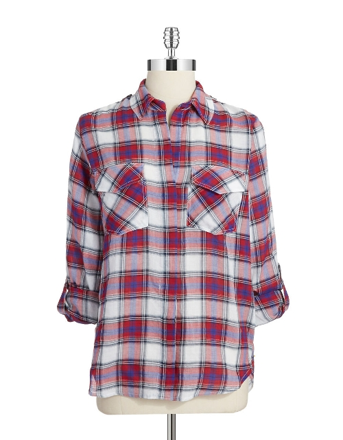 Plaid Button-Down Shirt by Sam Edelman in The Visit