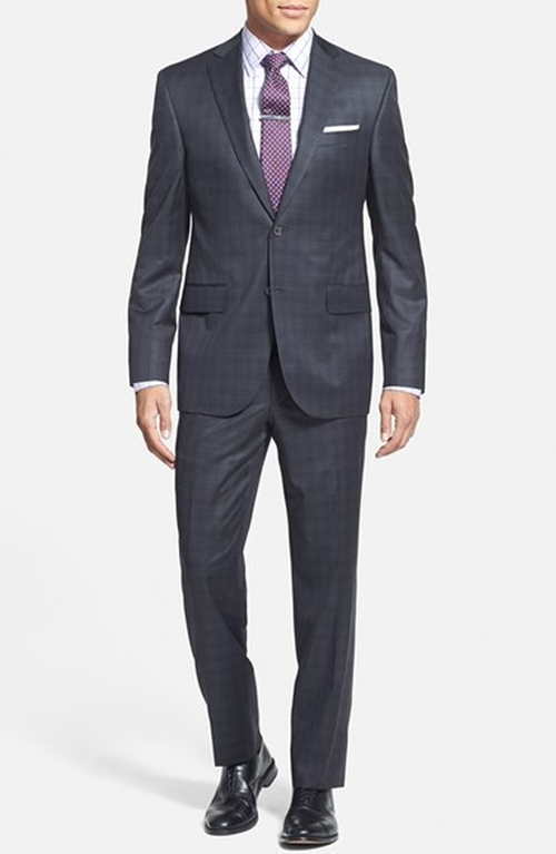 'Ryan' Classic Fit Check Suit by David Donahue in Focus