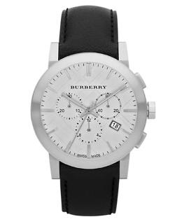 Men's Chronograph Watch With Black Leather Strap by Burberry in The Other Woman