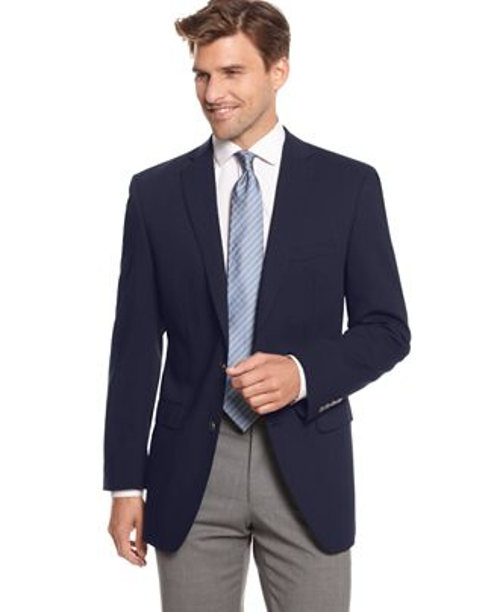 Two Metal Button Stretch Wool Blazer by Calvin Klein in The Second Best Exotic Marigold Hotel