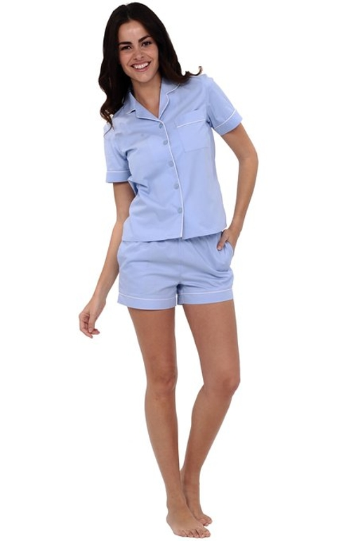 Cotton Short Sleeve Button Down Pj Set by Alexander Del Rossa in The D Train
