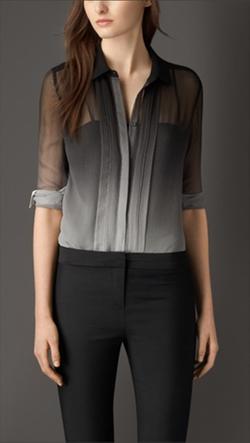 Black Dégradé Silk Shirt by Burberry in Suits