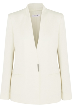 Cotton & Wool-Blend Cloqué Blazer by Helmut Lang in By the Sea