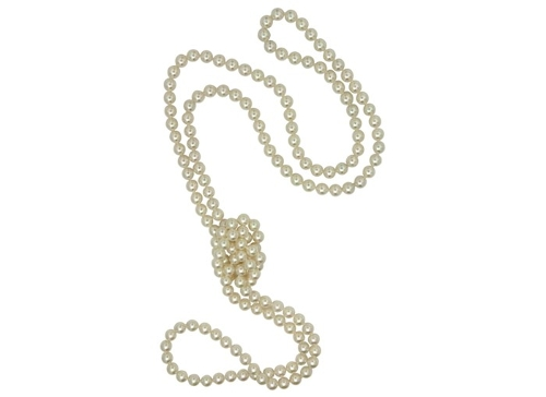 Organic Man-Made Pearl Endless Rope Necklace by Majorica Pearl in Entourage