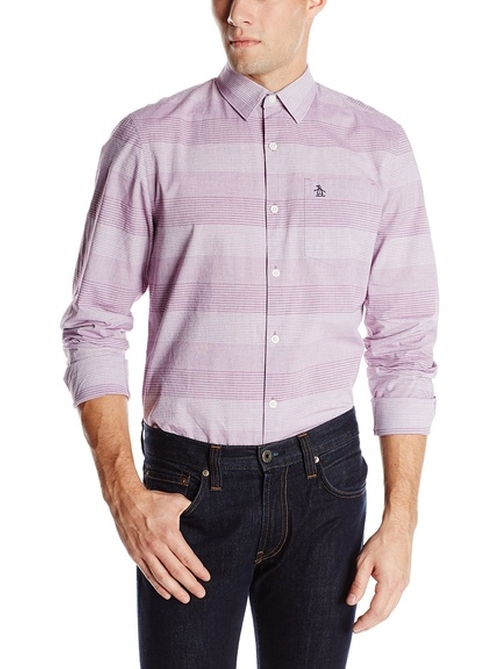 Horizontal Stripe Woven Shirt by Original Penguin in Mad Dogs -  Looks