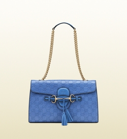 Blue Emily Periwinkle Guccissima Chain Shoulder Bag by Gucci in The Other Woman