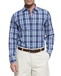 Plaid Button-Down Shirt by Neiman Marcus in Ride Along