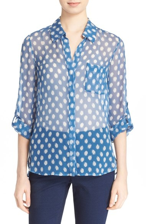 Lorelei Two Polka Dot Print Silk Blouse by Diane Von Furstenberg in Modern Family - Season 7 Episode 22