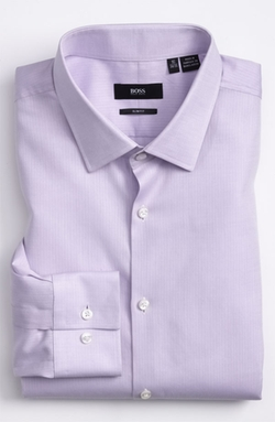 'Jenno' Slim Fit Herringbone Dress Shirt by Boss in Our Brand Is Crisis