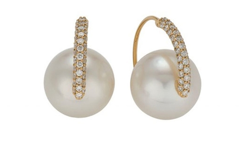 White South Sea Pearl Orbit Earrings by Golden Door in Sex and the City