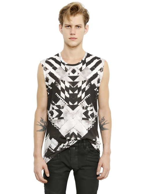 Sleeveless Geometric Cotton T-Shirt by Balmain in Empire