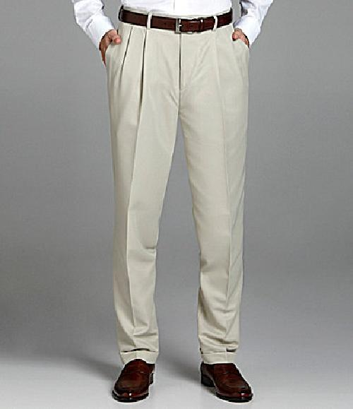 Microfiber Easy-Care Pleated Expander Dress Slacks by Roundtree & Yorke in Oculus