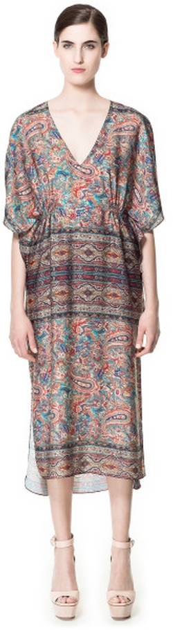 Multicolor Paisley Printed Kaftan Dress by Zara in Tammy