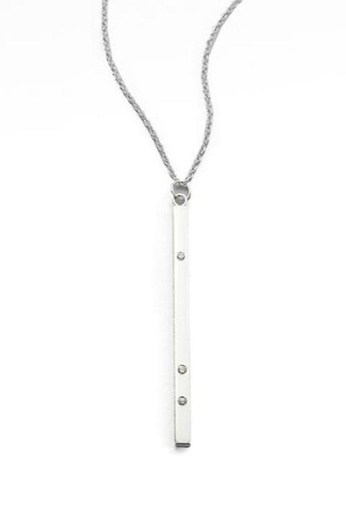 Diamond Bar Pendant Necklace by Jennifer Zeuner Jewelry in Pretty Little Liars - Season 6 Episode 8