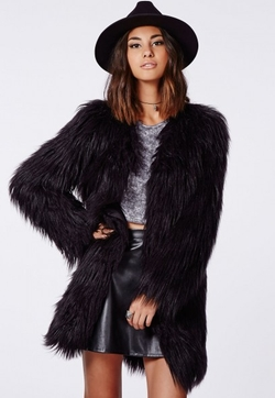 Cloe Shaggy Faux Fur Coat by Missguided in Fight Club