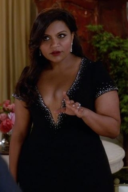 Custom Made V-Neck Crystal Embellished Dress by Salvador Perez (Costume Desinger) in The Mindy Project