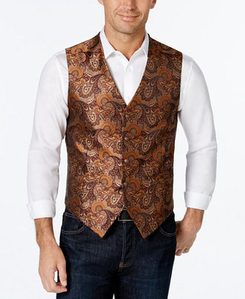 Burgundy Gold Paisley Vest by Tallia in Victor Frankenstein