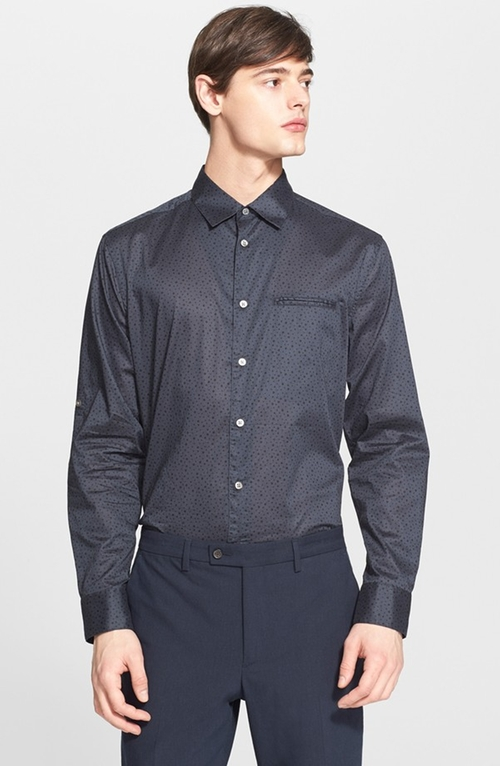 Slim Fit Dot Print Roll Sleeve Sport Shirt by John Varvatos Collection in How To Get Away With Murder - Season 2 Episode 10