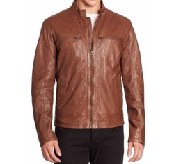 Leather Zip-Up Jacket by Cole Haan in Rosewood