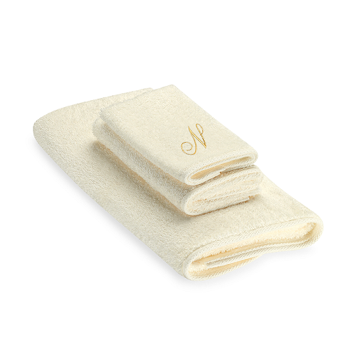 "Premier Gold Script Monogram Letter ""N"" Bath Towel In Ivory by Avanti in Hot Tub Time Machine 2"