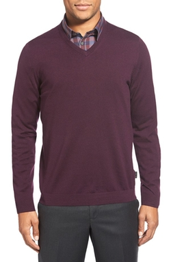 Batatak Slim Fit Merino Wool V-Neck Sweater by Ted Baker London in The Blacklist