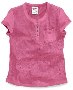 Girls' Lace Henley Pocket Tee by Belle Du Jour in Blended