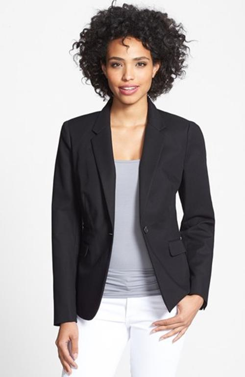 Stretch Cotton One-Button Blazer by Vince Camuto in Limitless