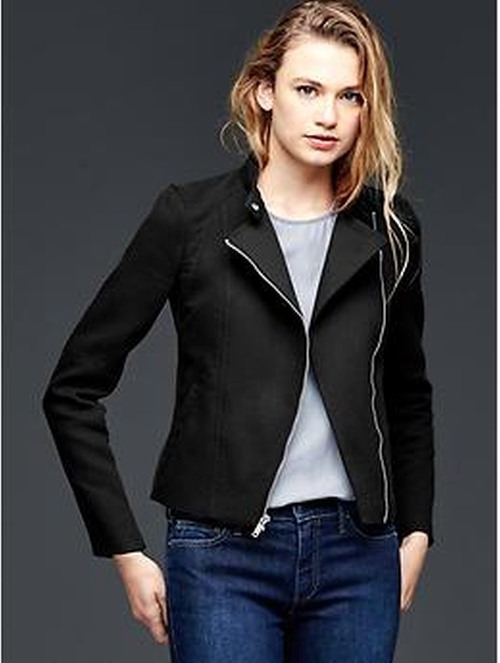 Ribbed Moto Jacket by Gap in Rosewood
