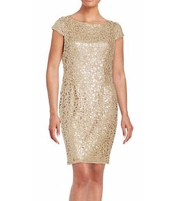 Sequined Lace Cap-Sleeve Sheath Dress by Adrianna Papell  in Marvel's Luke Cage
