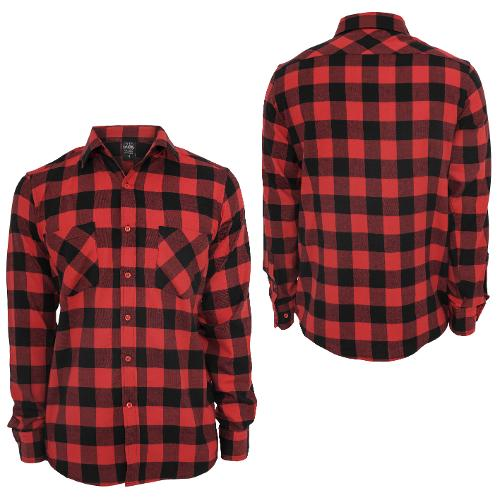 Checked Flanell Shirt black Red by Urban Classics in Sabotage