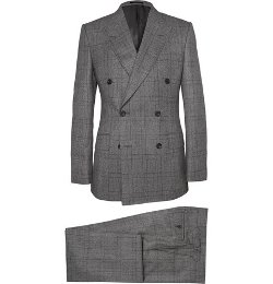 Grey Double-Breasted Glen Check Suit by Kingsman for Mr. Porter in Kingsman: The Secret Service