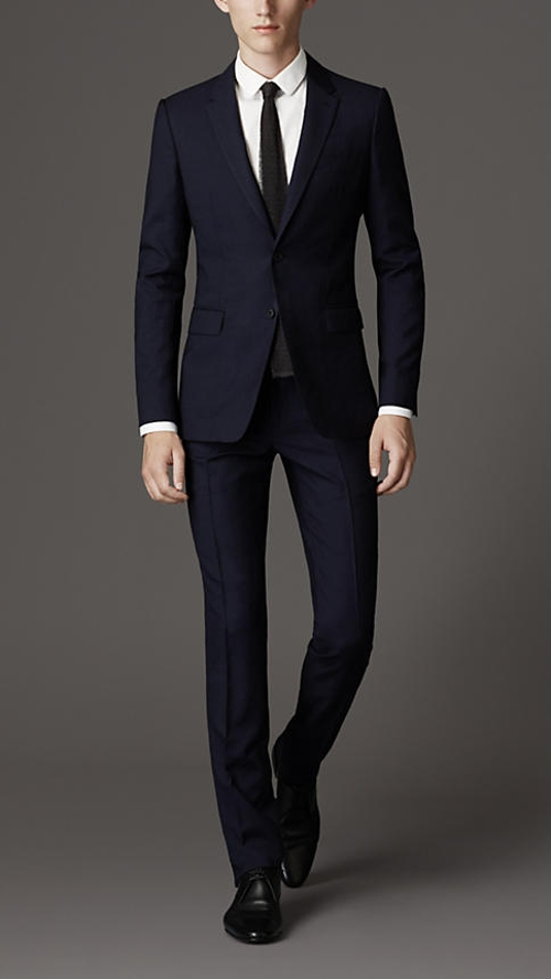 Slim Fit Travel Tailoring Wool Sharkskin Suit by Burberry in Self/Less