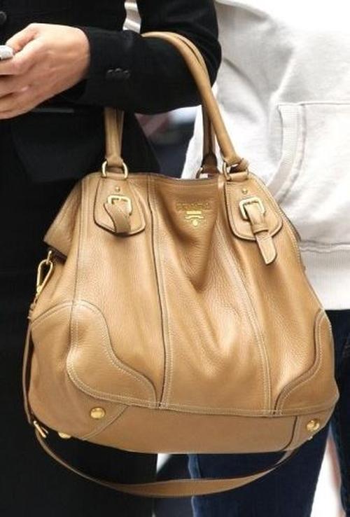 Sandra Bullock Prada Cervo Antik Shopper Tote Bag # B1191 ...