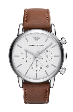 Chronograph Leather Strap Watch by Emporio Armani in Trainwreck