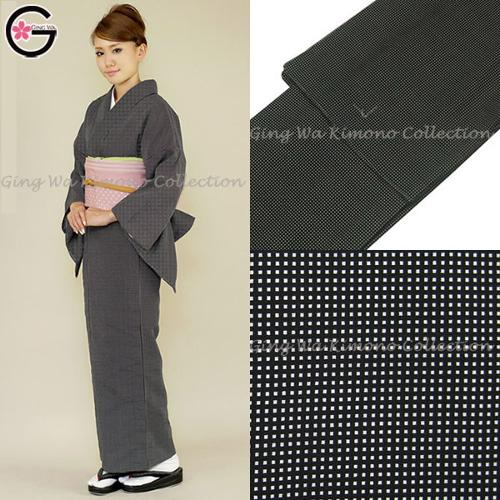 Kimono Lady Black Grid Design Edo Komon Vintage by Fu-ka in The Wolverine
