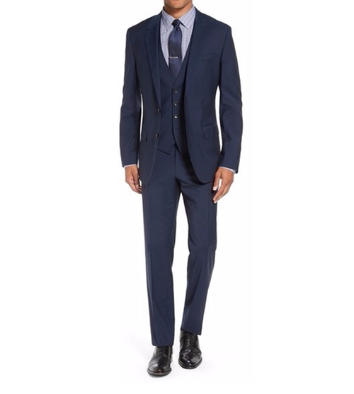Three Piece Stripe Wool Suit by Boss in The Boss