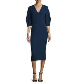 Half-Sleeve V-Neck Midi Dress by Lela Rose in Suits