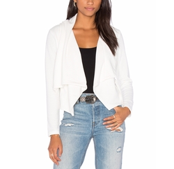 Knit Boucle Long Sleeve Front Draped Blazer by Bobi in Mistresses