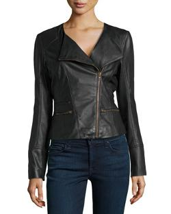 Asymmetric Leather Biker Jacket by Bagatelle in Ouija